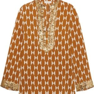 Tory Burch Gold Tile Embellished Silk Crepe Tunic